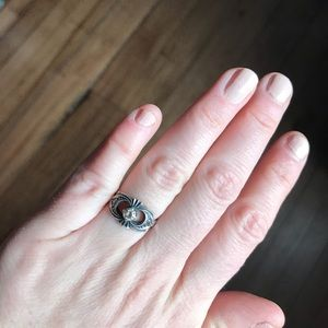 .925 sterling silver Marcasite cubic zirconia ring